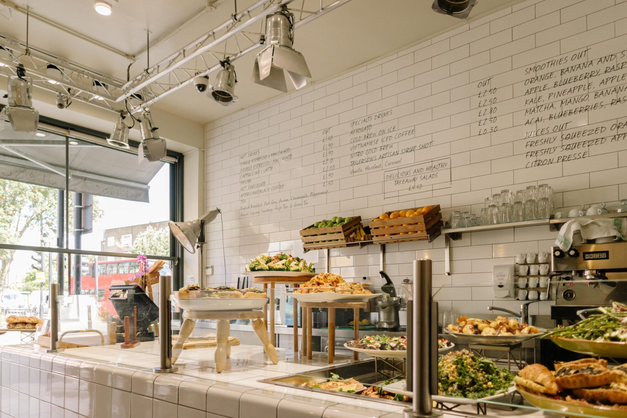A display of sandwiches and salads at Bounlangerie Bon Matin on Upper Tollington Park in Stroud Green North London.
