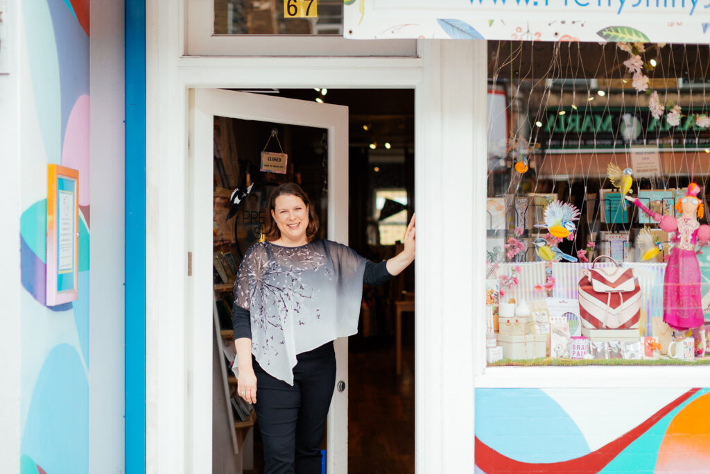 Georgina, owner of local community business ( a gift shop called Pretty Shiny Shop), outsider her business in Stroud Green.