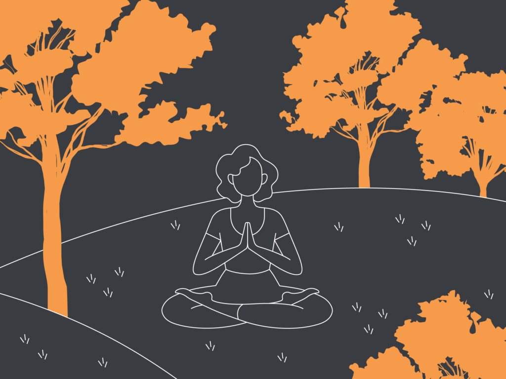 Davies & Davies Illustration of a woman meditating in the the park on a grey background surrounded by orange trees