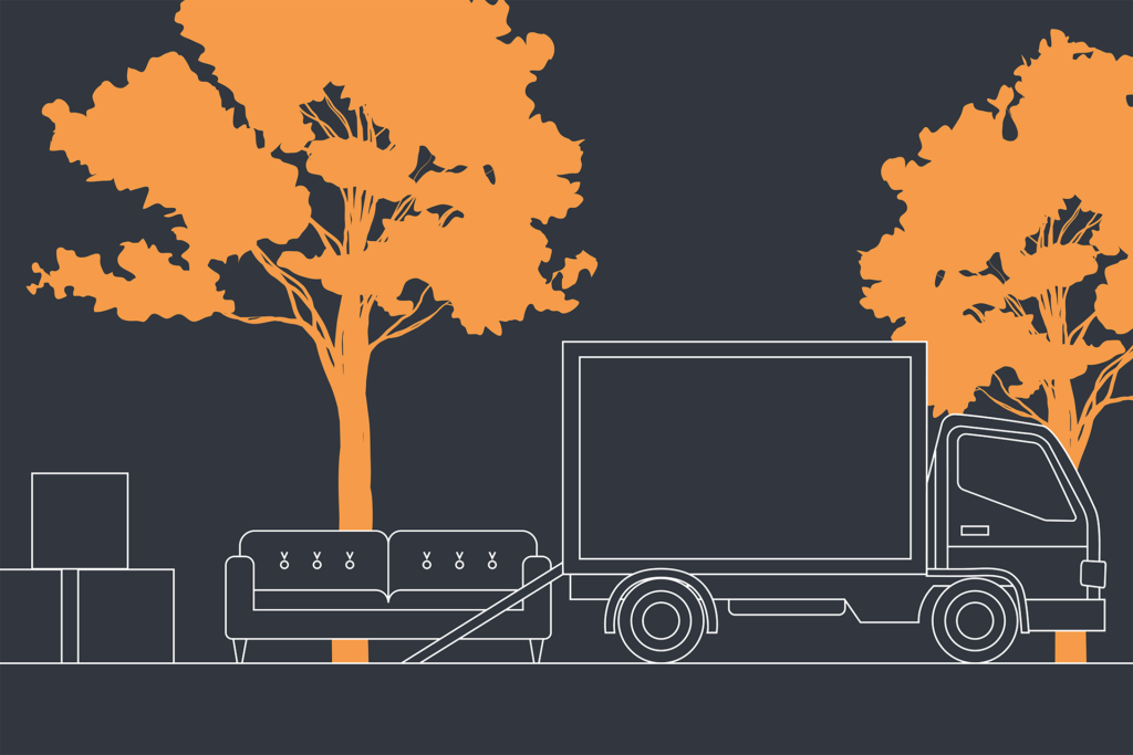 an illustration of a moving van moving a sofa and some boxes