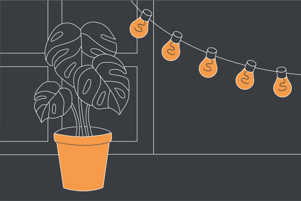 Illustration of a Monstera plant in an orange plant pot sitting by a window with bulb fairy lights hanging by it