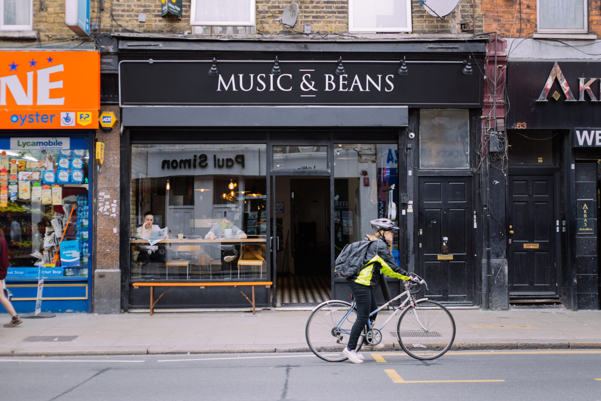 The exterior of Music & Beans.