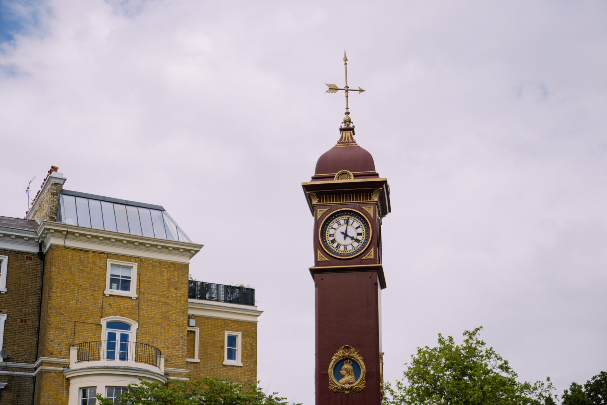 A clock tower in Highbury.