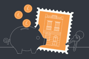 illustration of a piggy bank, a property stamp and a set of keys