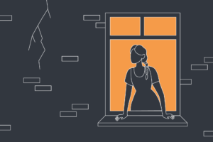 An illustration of a woman looking out of her window to a crack in her building wall.