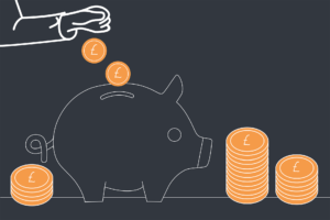 A DD illustration of a hand depositing money into a piggy bank with stacks of coins either side.