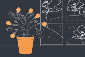 D&D Illustration of a plant pot with leaves and light bulbs as the flower. Behind it is a window with trees on hills.