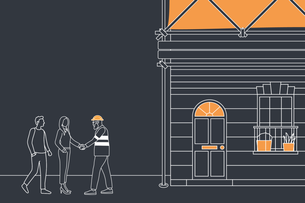 Illustration of a man and a woman shaking hands with a builder who is working on their house.