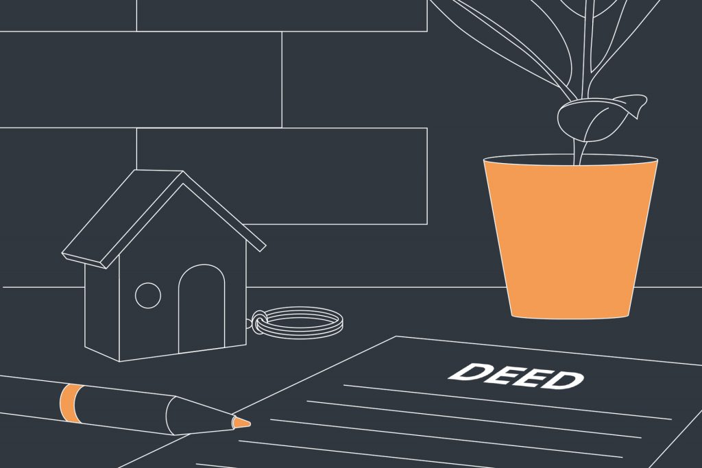 An illustration of deeds to a property, pen, keyring in the shape of a house and a potted plant on a table.