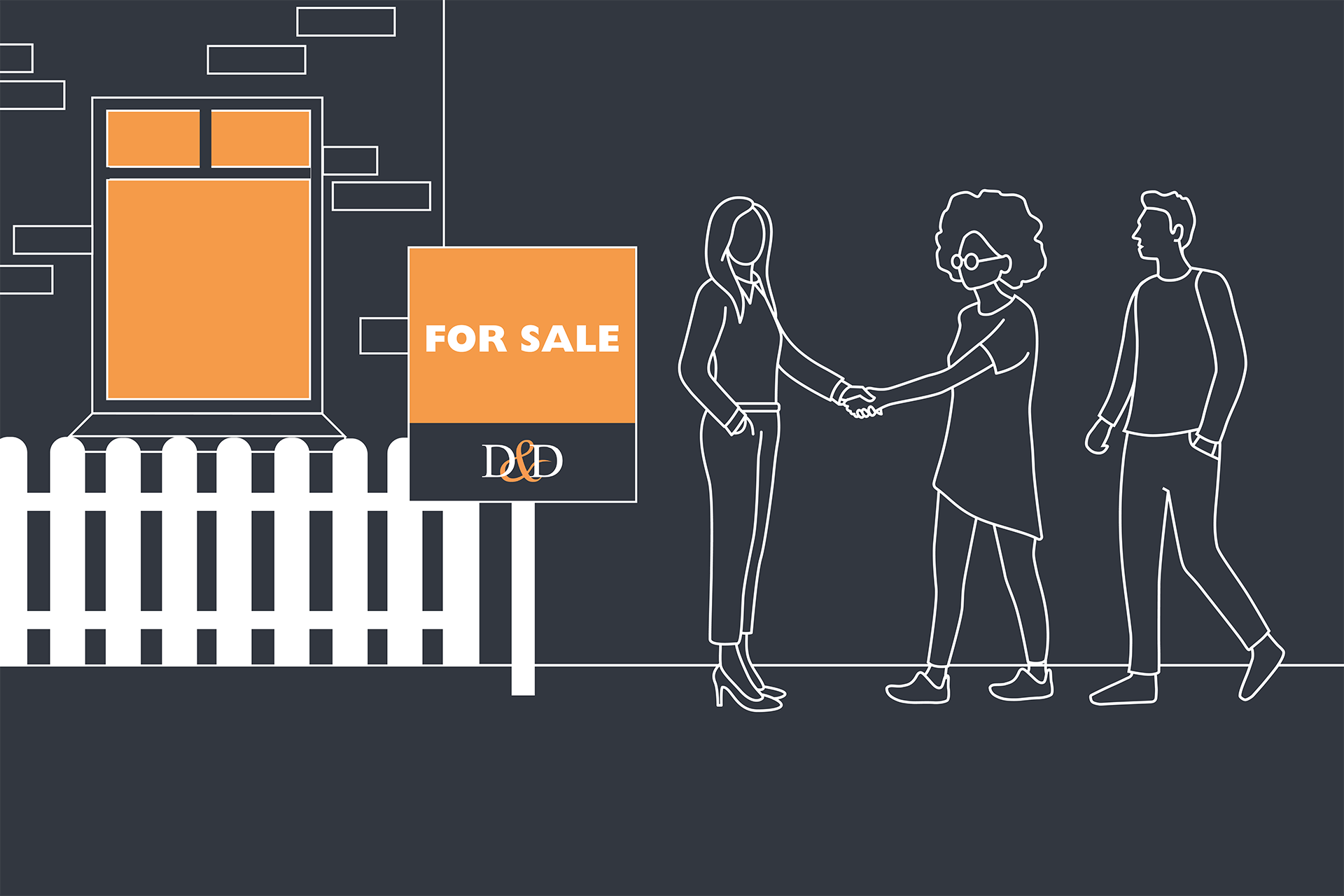 Illustration of a couple shaking hands with a Davies & Davies estate agent after buying a property as a result of the new 95% loan-to-value mortgage scheme.