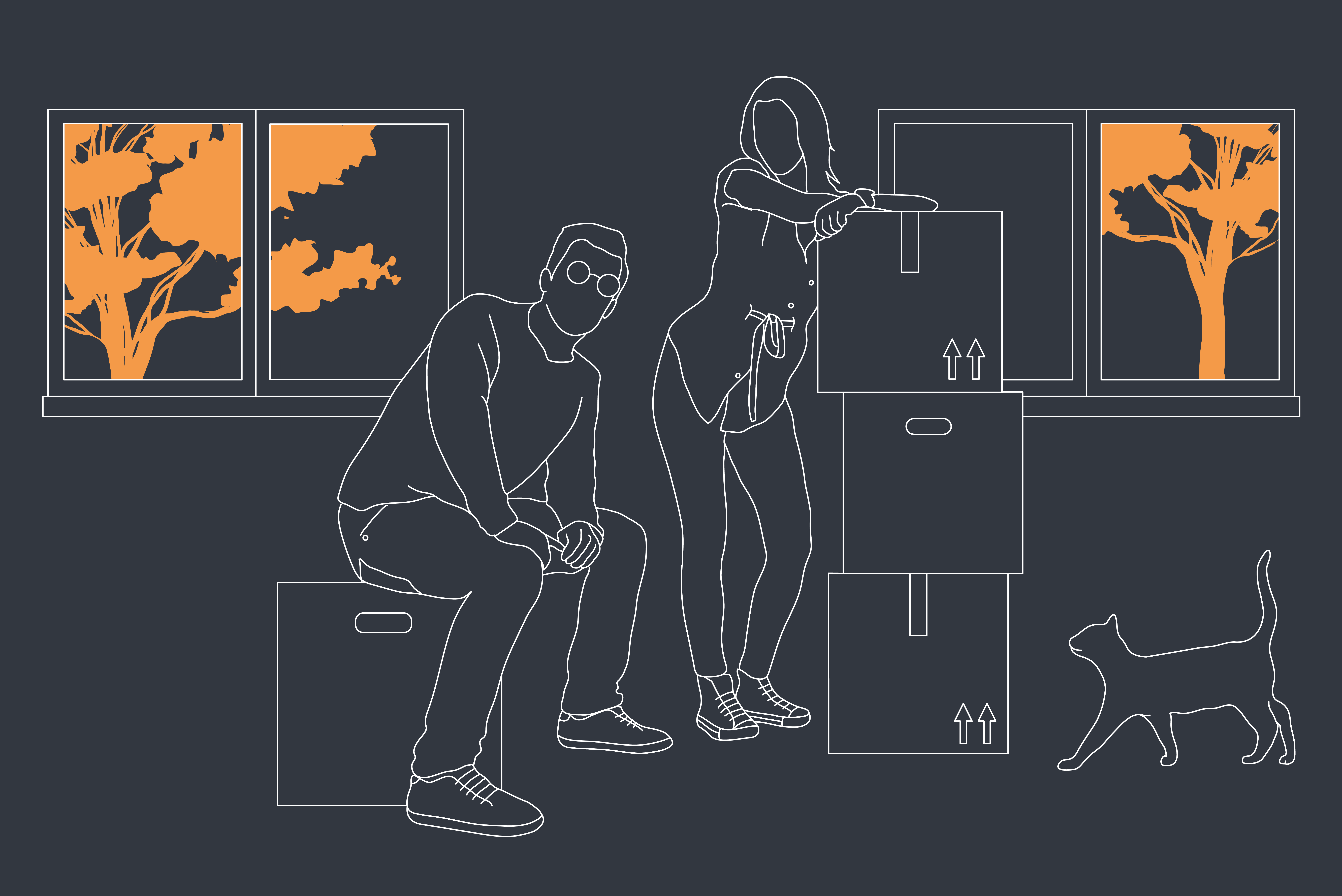 A illustration of two friends who purchased a house together moving in their personal possessions in the property with there pet cat in the frame